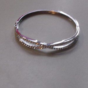 Monet bracelet bangle silver rhinestones
